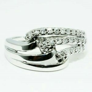 Jewelry - .30tcwRealDIAMOND/10k white gold size 6.25 sizable